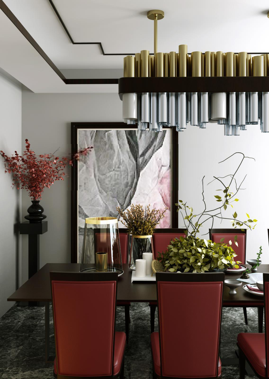 高档餐桌椅钢管吊灯组合