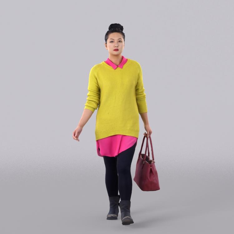 黄色毛衣女人