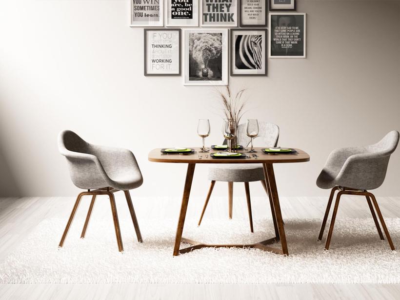 休闲餐桌椅挂画组合