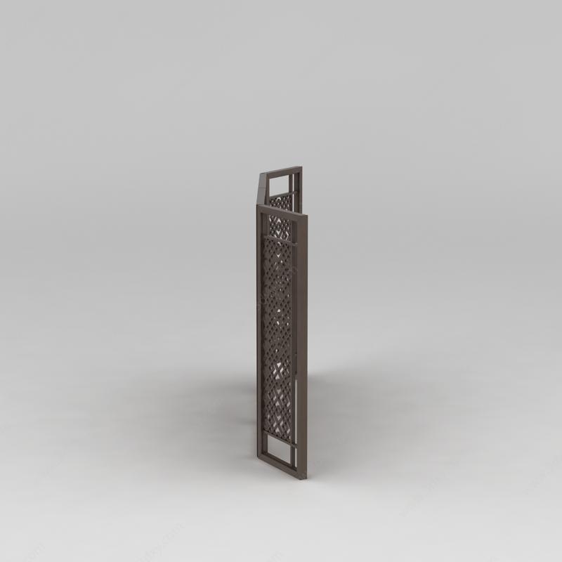 中式实木镂空雕花屏风模型