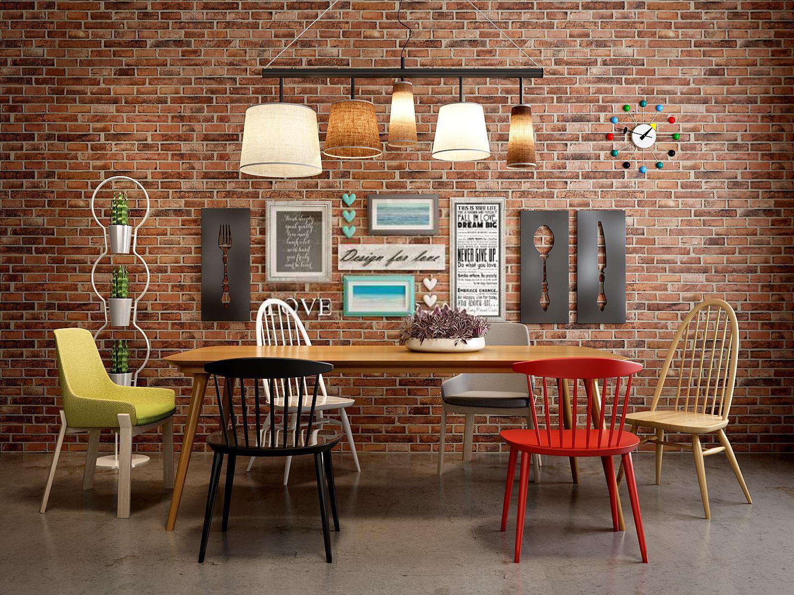 现代实木餐桌椅loft背景墙组合