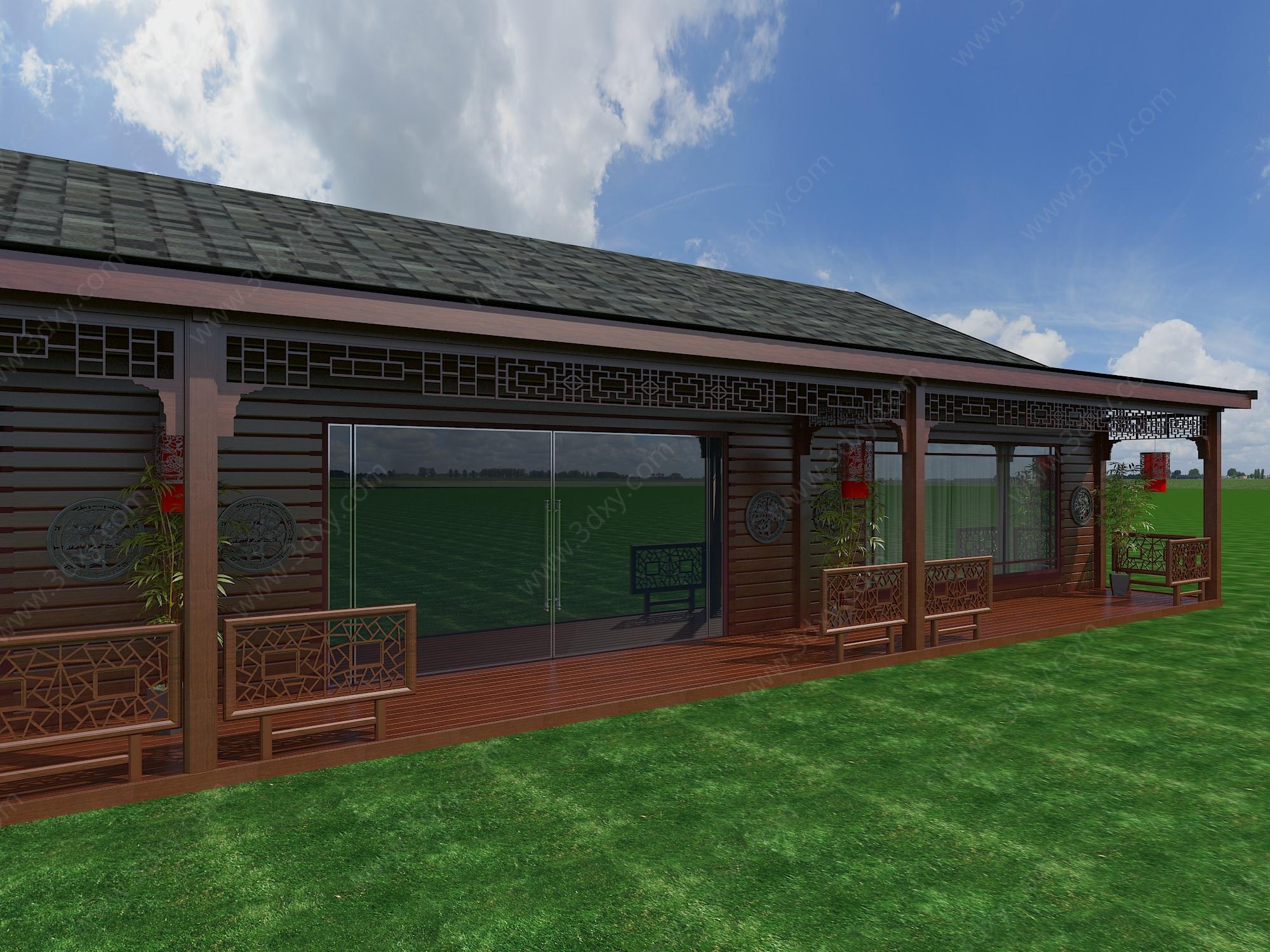 中式红木屋模型