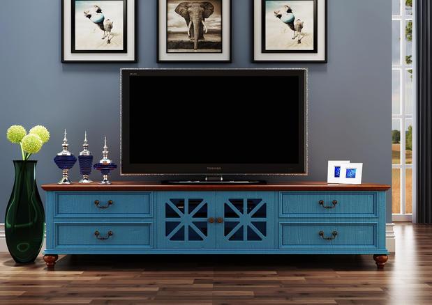 复古蓝色电视柜