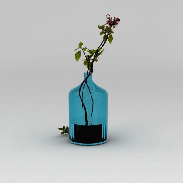 现代海棠树枝花瓶装饰模型
