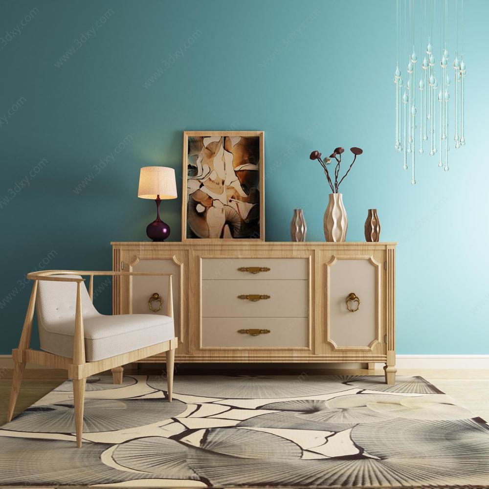 新中式装饰柜座椅装饰品组合模型