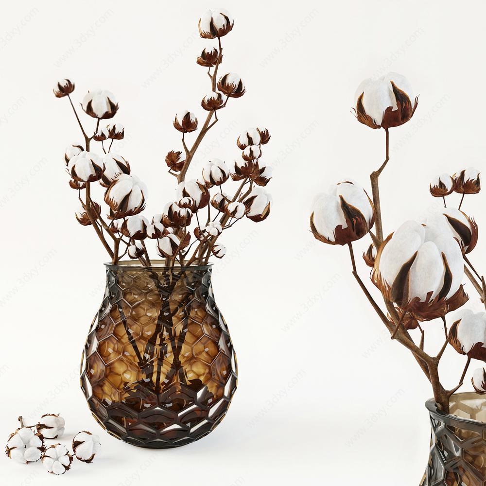 棉花花瓶装饰品