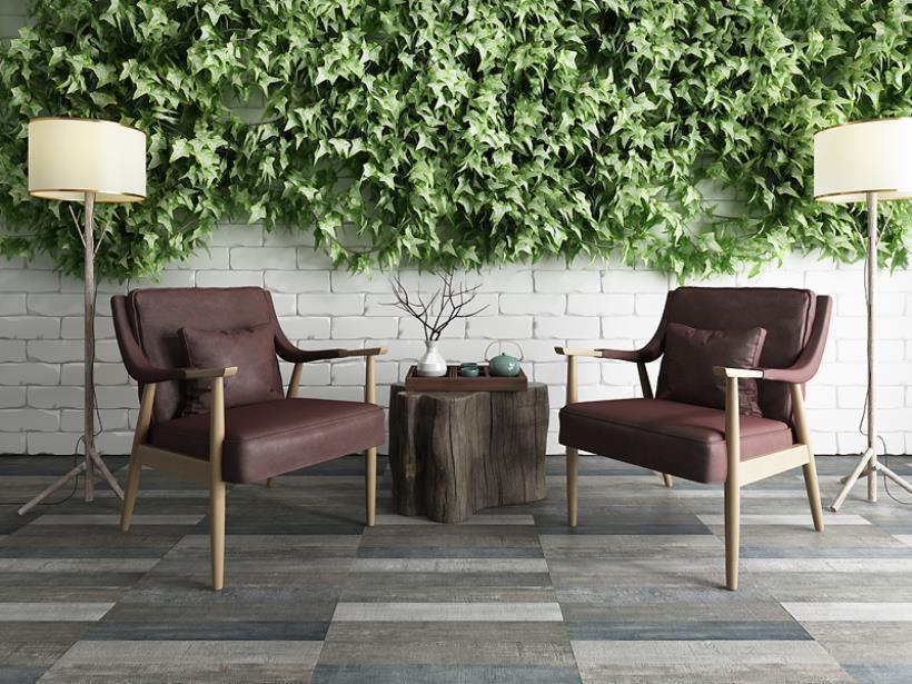 东南亚休闲椅植物墙组合