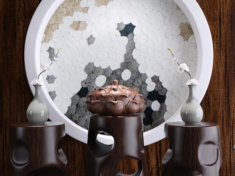 新中式莲花香炉花瓶摆件