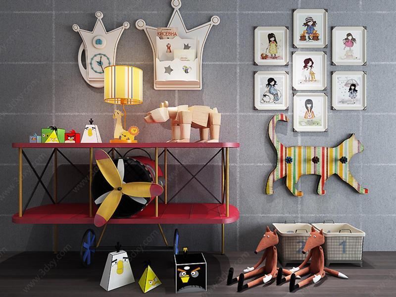 兒童房創意飛機邊柜玩具組合