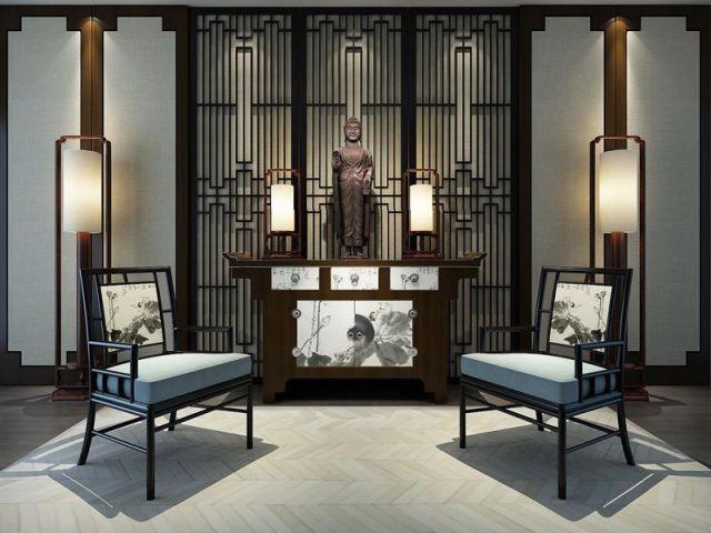 新中式玄关椅子案台组合