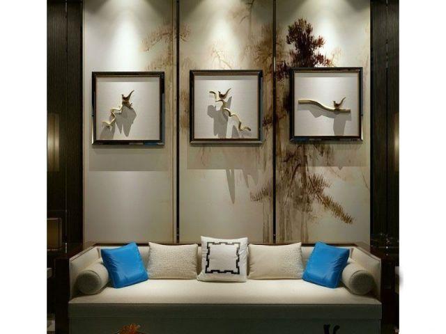 新中式沙发立体装饰画组合