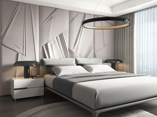 简约卧室大床床头柜组合