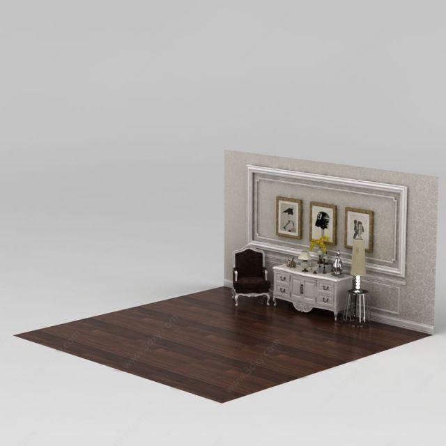 欧式柜子沙发组合模型