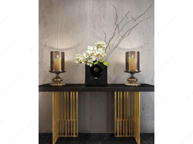 中式玄关台蜡烛灯组合模型图片