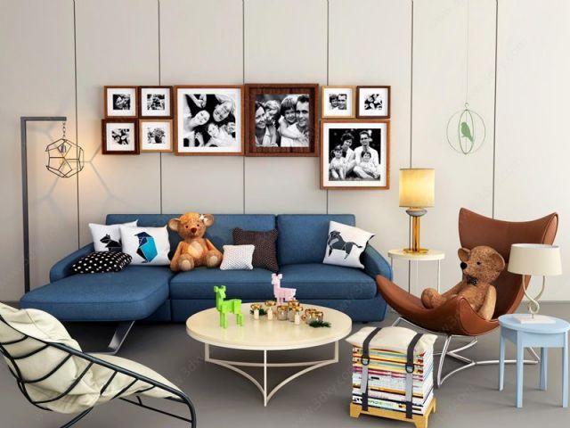 小户型客厅简约沙发椅子茶几组合模型
