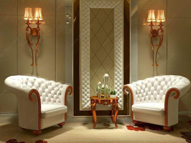 欧式壁灯沙发茶几组合模型