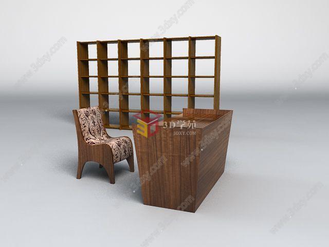 现代实木书台椅子书柜组合