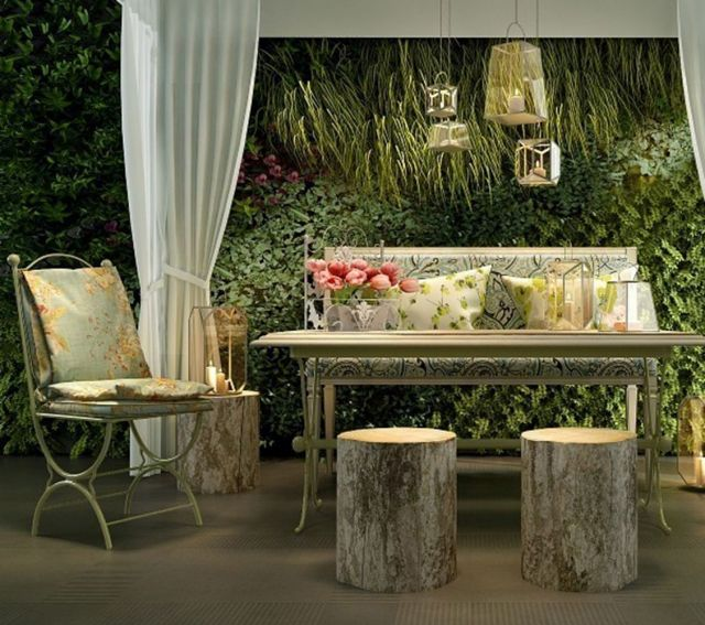 欧式庭院桌椅植物装饰墙