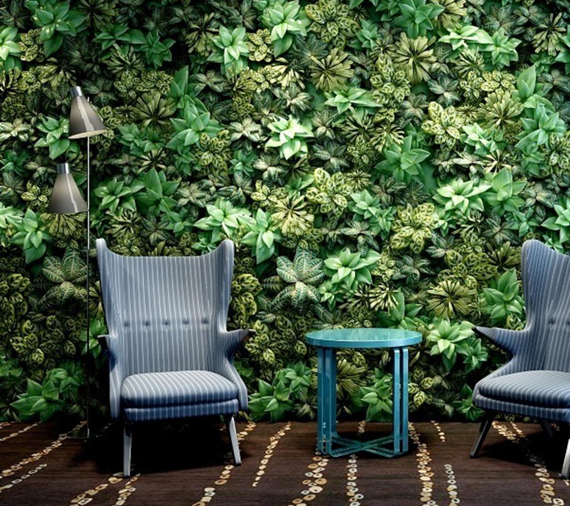 植物墙休闲椅组合