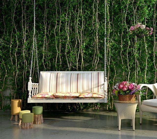 植物装饰墙吊椅组合