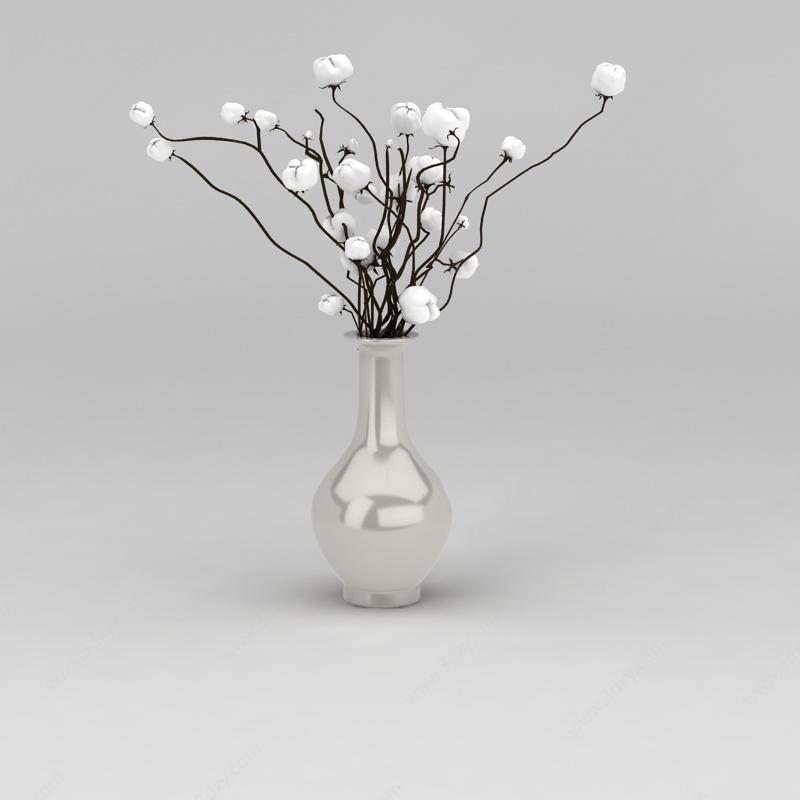 干枝棉花装饰花瓶模型