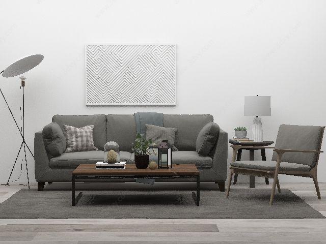 灰色沙发茶几组合3d模型