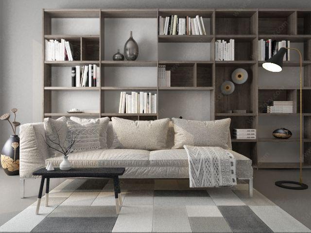 布艺舒适沙发书柜组合