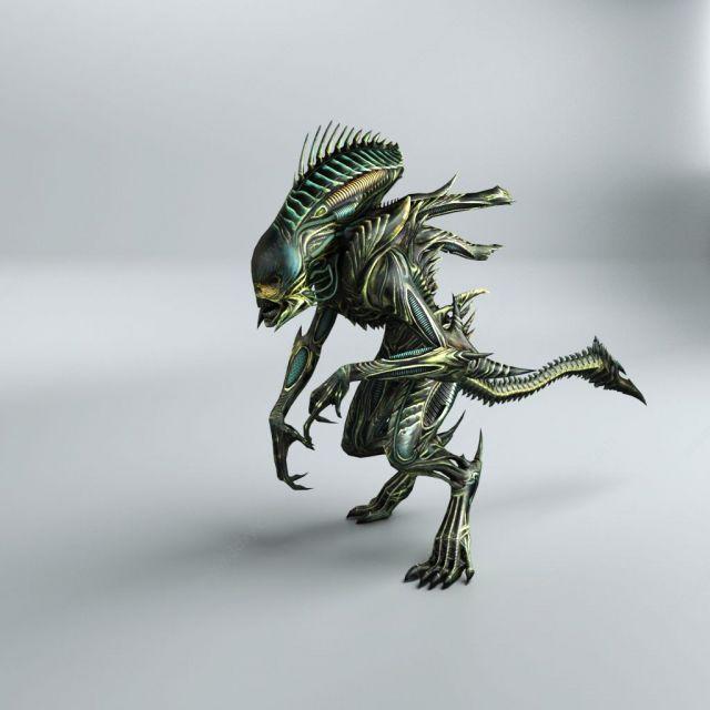 3D科幻游戲怪物帶骨骼動畫