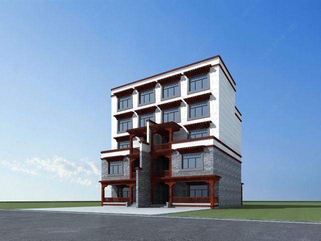藏式别墅3d模型图片