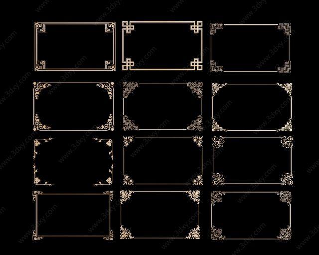 中式角花角线花格组合