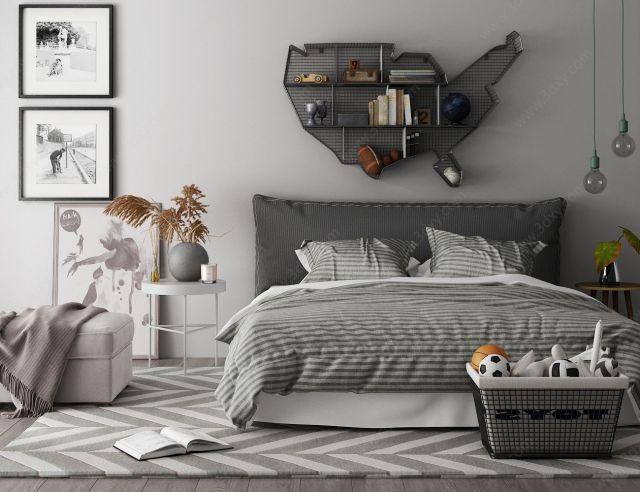 现代双人床边几墙饰床头柜