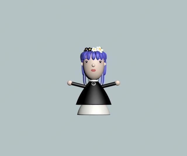紫发女孩泥塑玩具
