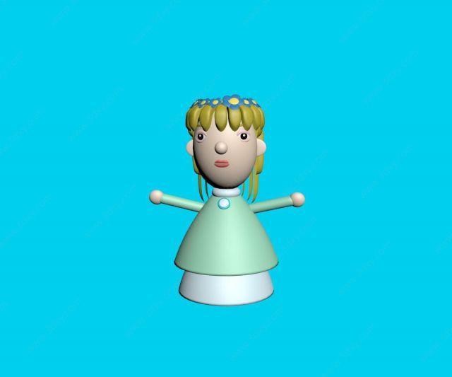 黄发女孩泥塑
