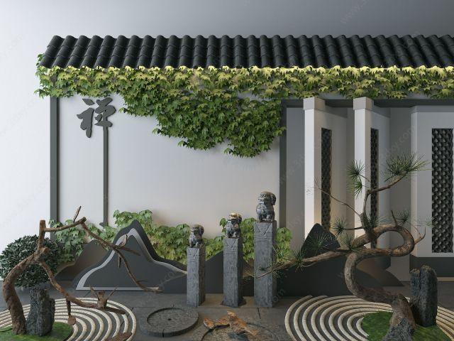 新中式园林景观组合