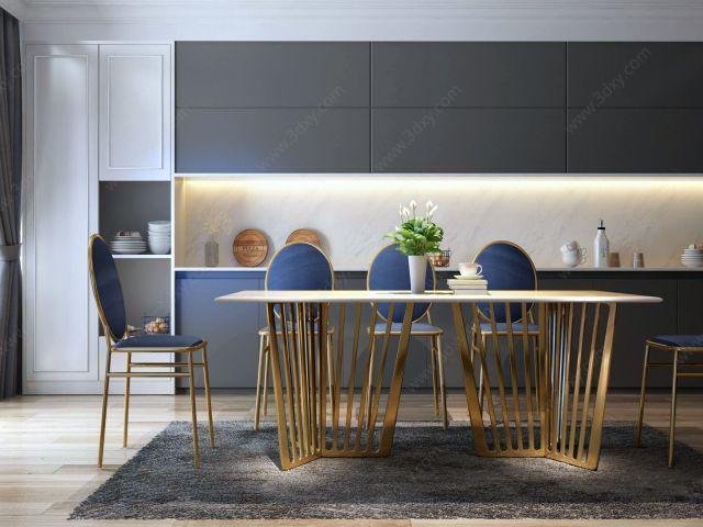 现代金属餐桌椅组合