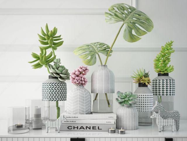 北欧绿植花瓶摆件组合