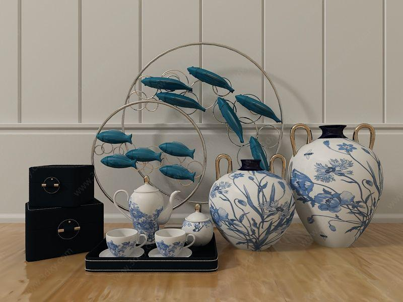 中式瓷器装饰品组合