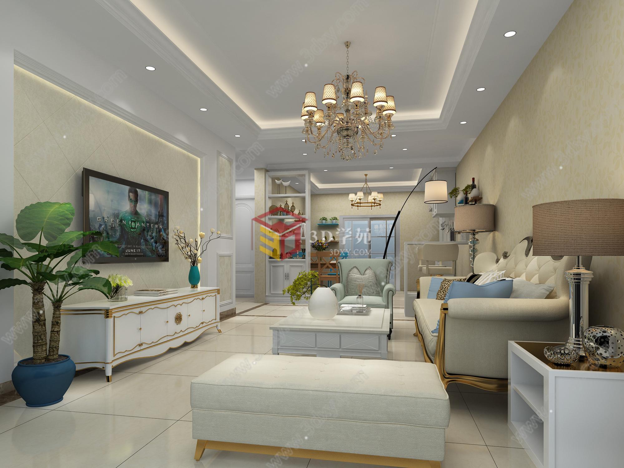 简欧式家装客厅装饰设计整体模型详情