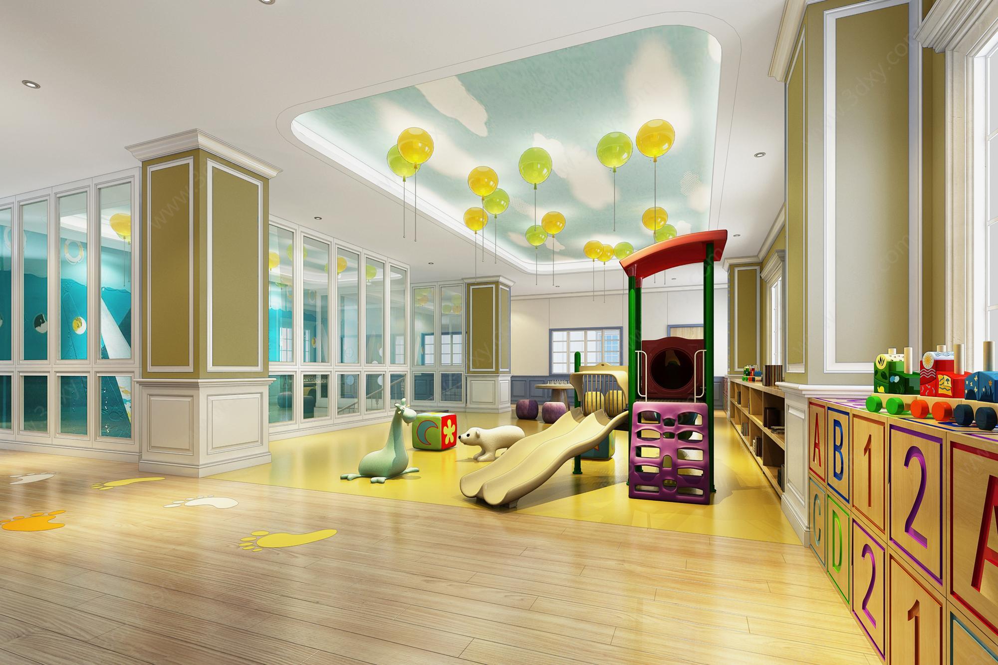 童活动室_儿童活动室娱乐室玩耍处工装模型