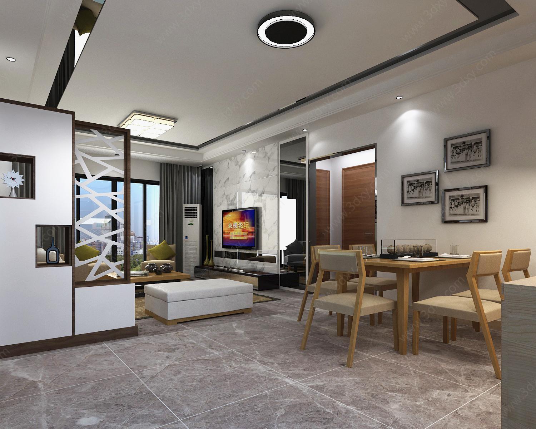现代简约客厅模型下载