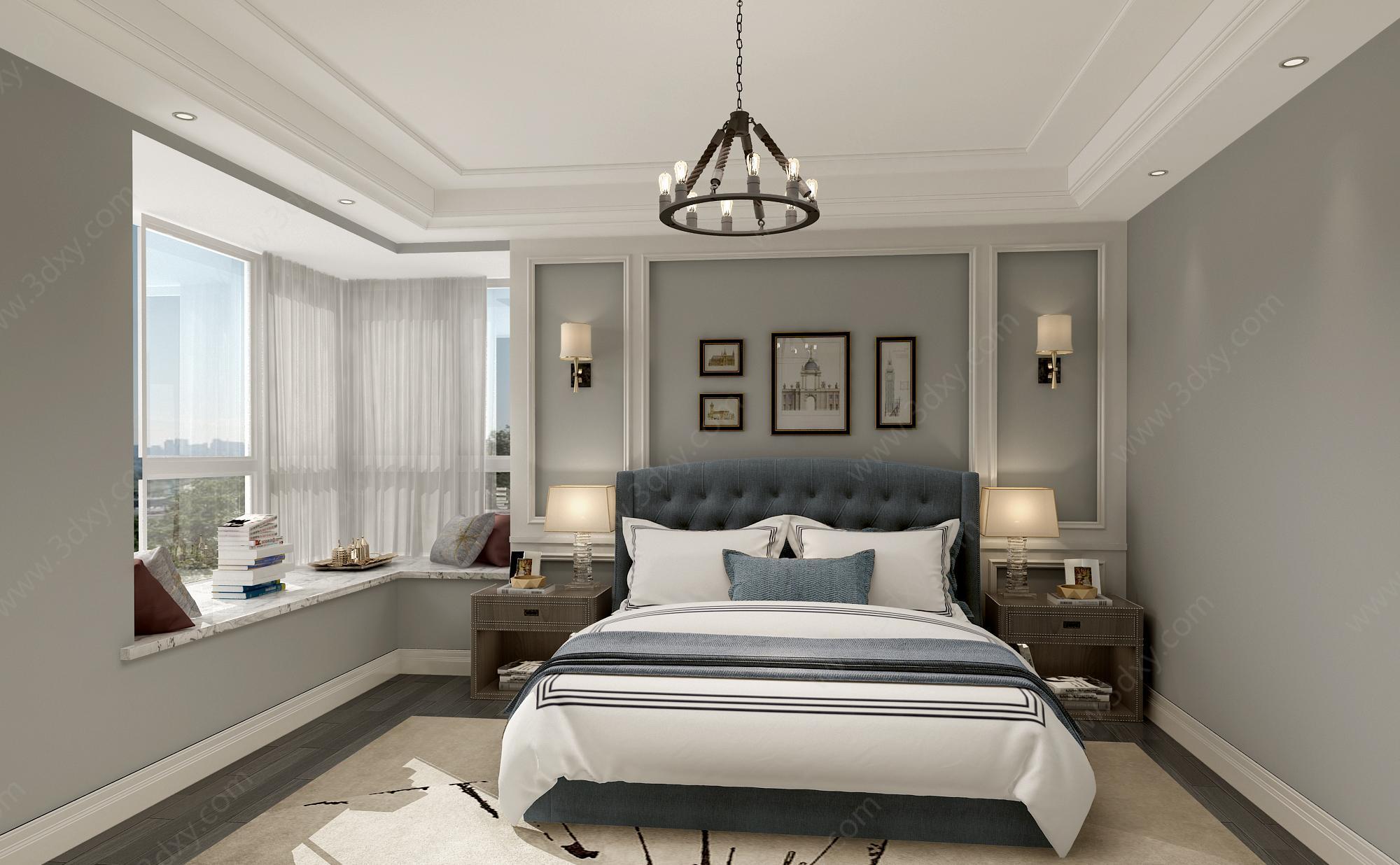 美式臥室整體模型