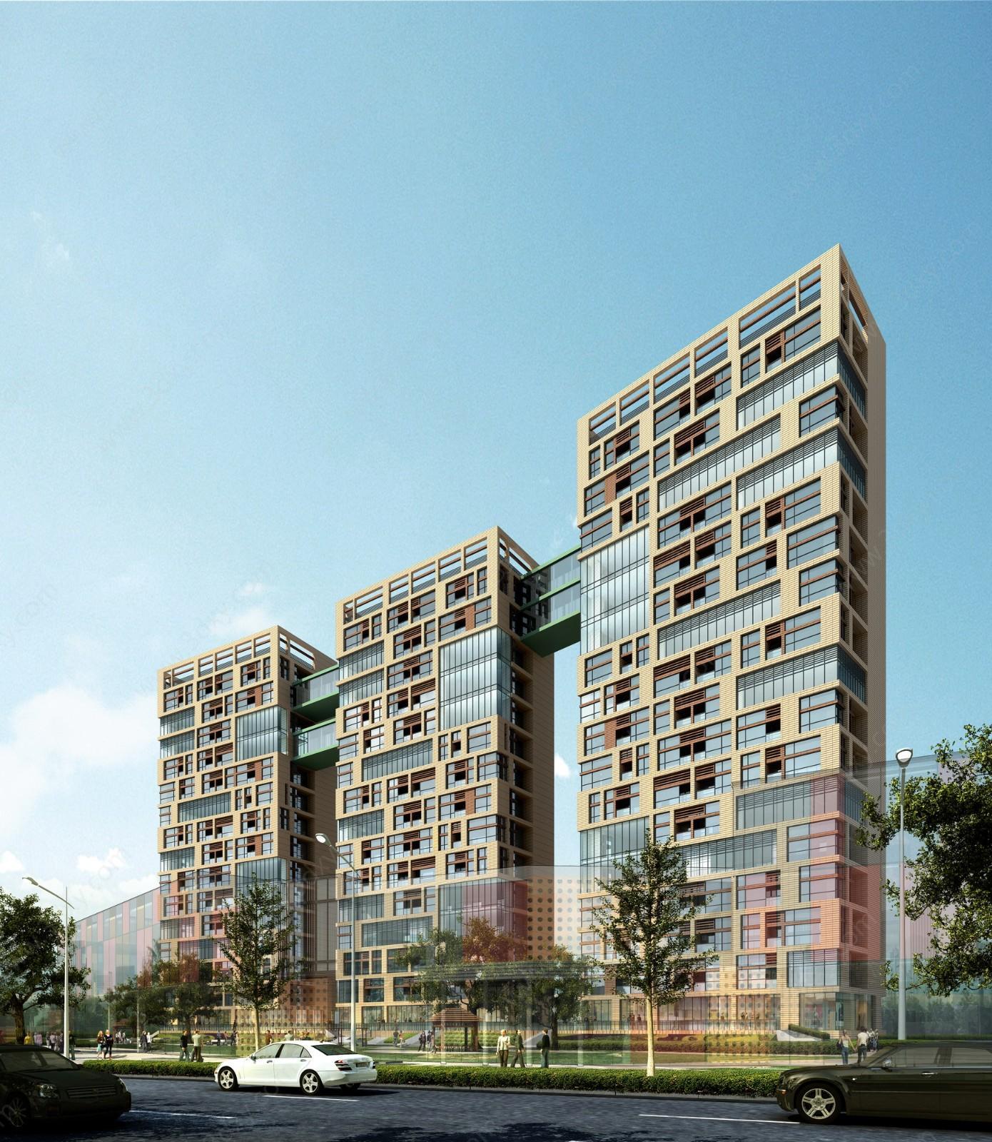 室外3d模型 高层天桥建筑工装模型  关键词:高层建筑3d模型玻璃天桥3d
