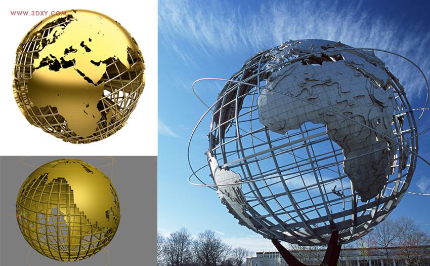 【建模技巧】如何用3DMAX制作简单的框架地球建模