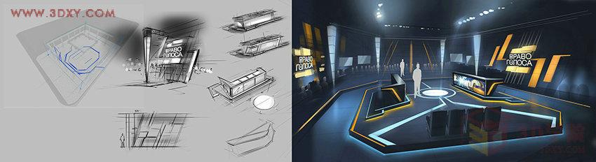 前言:在眾多科技感風格的作品當中,想必只有N3的作品可以稱得上是高貴,大氣,上檔次,N3對材質調節的細膩程度,以及細節的把控都令人驚嘆。熟悉這個N3 design團隊的都應該知道他們的頻道包裝設計,無論是新聞片頭,財經片頭,影視片頭都一如既往地展現了N3的獨特時代感與科技感。考慮到他們的作品大都是視頻形式,所以今天給大家帶來的是他們為TV_Center電視臺設計的演播廳舞美設計,里面有精彩的原畫和現場效果對比,希望大家能夠喜歡。  演播室是利用光和聲進行空間藝術創作的場所,演播廳的內部結構一般是是非對稱長
