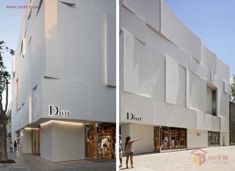 【创意分享】迈阿密dior专卖店立面设计之飞扬的裙摆