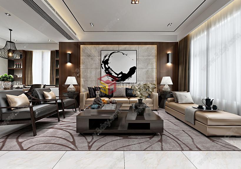 3d学苑 家装工装3d场景模型库 家装空间模型 客厅3d模型 现代港式风格