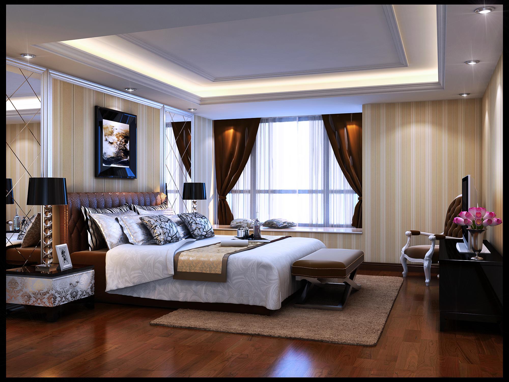 欧式简约卧室整体模型