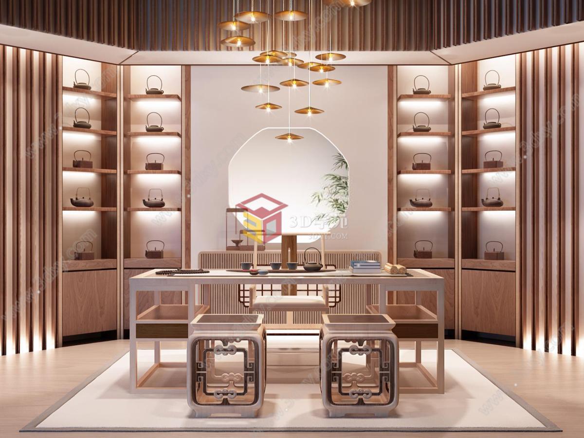 新中式书房茶室雕花椅子创意吊灯整体模型图片
