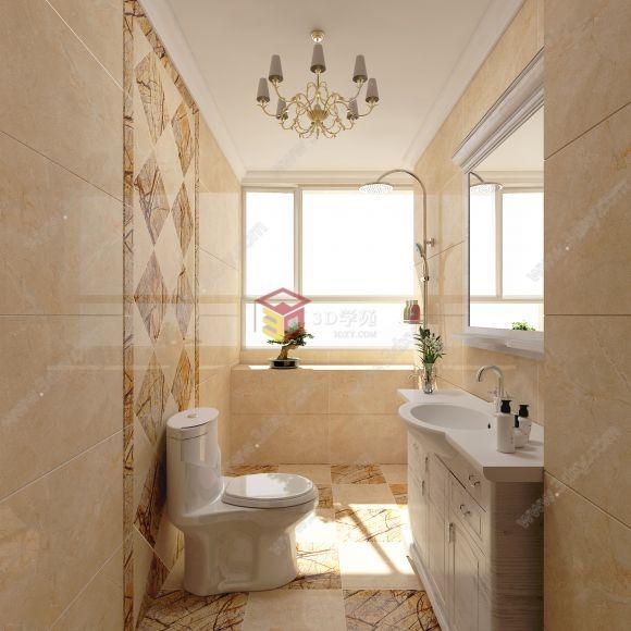 现代暖色系卫生间瓷砖装修效果图整体模型