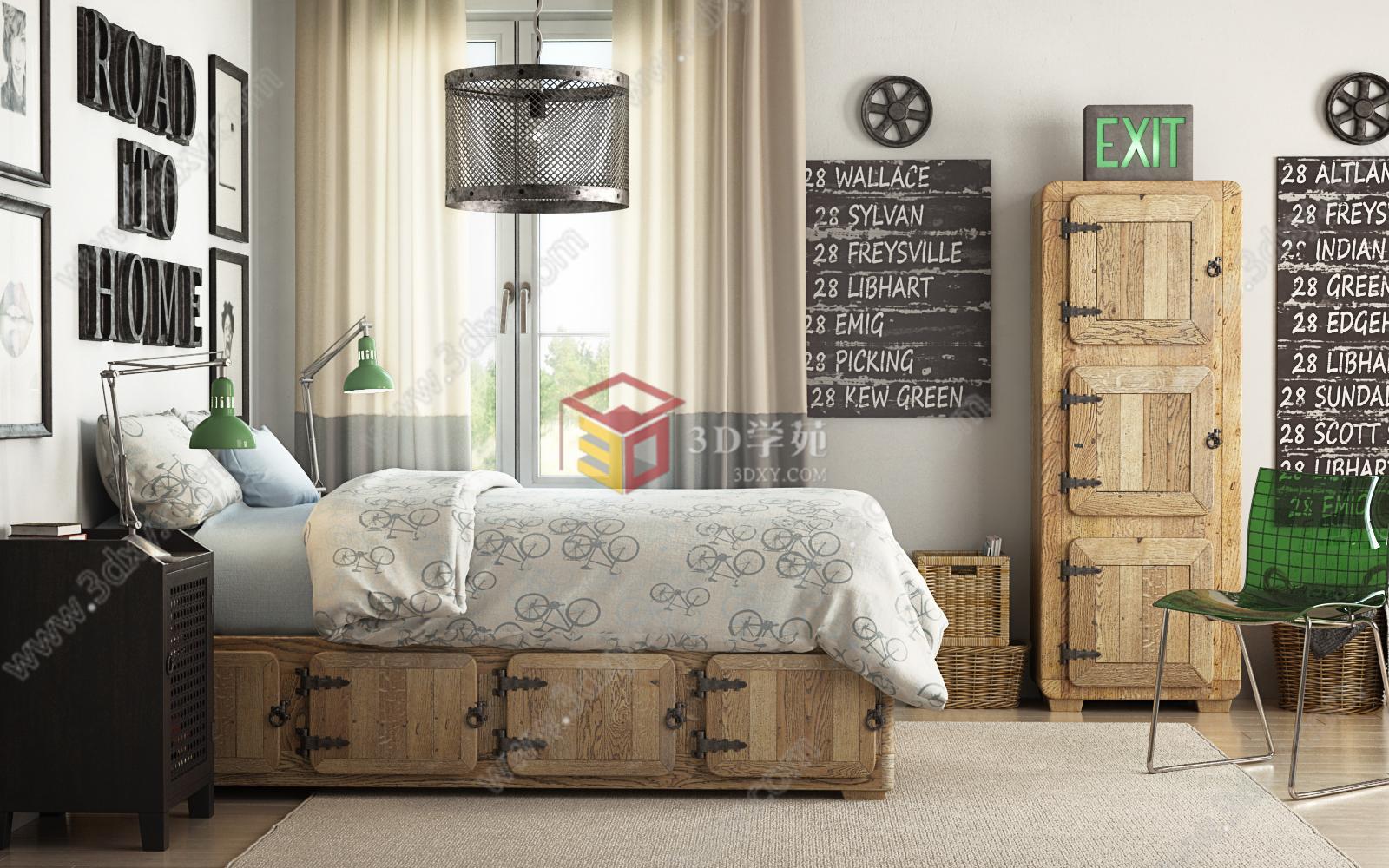 loft北欧实木工业复古风卧室整体模型